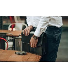 portfel skórzany zasuwany poziomy ciemny brąz duży RFiD H01