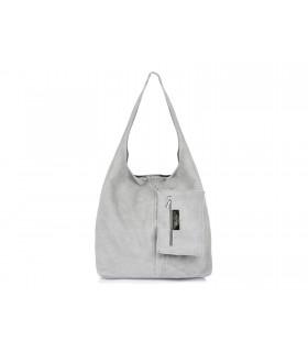 zamszowa torebka skórzana na ramię z saszetką jasnoszara N88