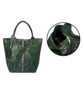 Ciemnozielona Duża Skórzana Shopperka skóra krokodyla torba worek Z SASZETKĄ L94