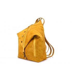 Musztardowy Włoski Stylowy Plecak Damski Skórzany Zamsz A4 W14