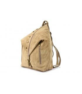 Beżowy Włoski Stylowy Plecak Damski Skórzany Zamsz A4 W14