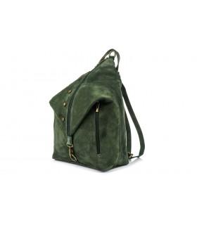 Ciemnozielony Włoski Stylowy Plecak Damski Skórzany Zamsz A4 W14