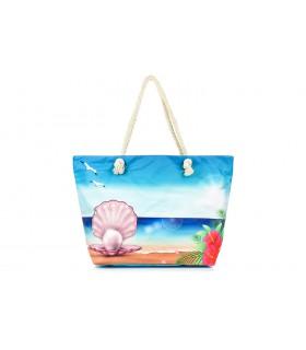 Torba plażowa duża na lato rączki suwak perła lekka C73