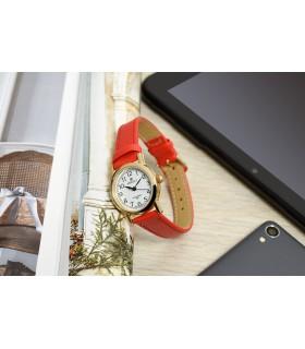 Zegarek damski na rękę pasek skórzany czerwony Perfect 273