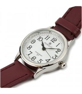 Zegarek damski na rękę pasek skórzany bordowy Perfect 273