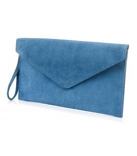 NIEBIESKI JEANS zamszowa skórzana WŁOSKA damska torebka kopertówka N12