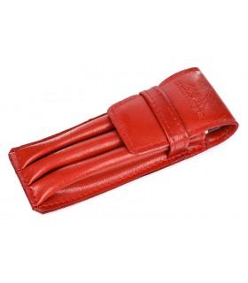 Piórnik Skórzany etui na pióro długopisy 3 komory czerwony Beltimore J09