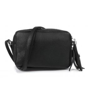 Czarna torebka damska listonoszka skórzana z frędzlem modna C74