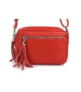 Czerwona torebka damska listonoszka skórzana z frędzlem modna C74