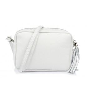 Biała torebka damska listonoszka skórzana z frędzlem modna C74