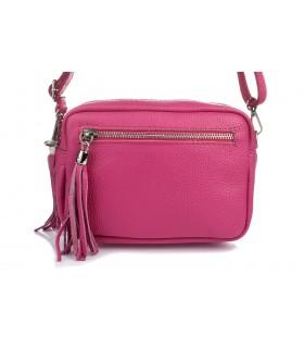 Różowa torebka damska listonoszka skórzana z frędzlem modna C74