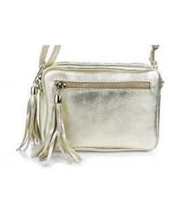 Złota torebka damska listonoszka skórzana z frędzlem modna C74