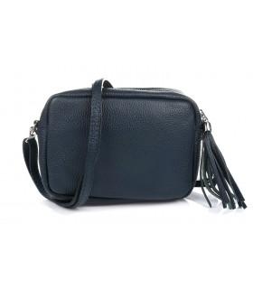 Granatowa torebka damska listonoszka skórzana z frędzlem modna C74