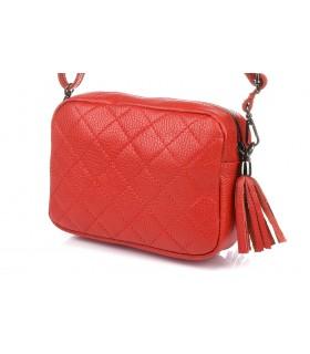 Czerwona torebka damska listonoszka skórzana pikowana frędzel C75