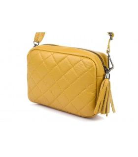 Żółta torebka damska listonoszka skórzana pikowana frędzel C75