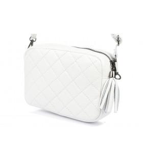 Biała torebka damska listonoszka skórzana pikowana frędzel C75