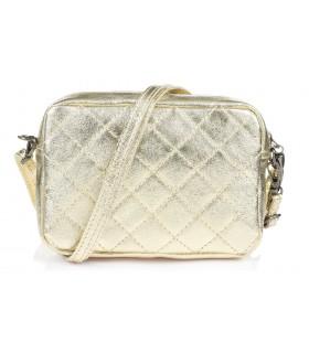Złota torebka damska listonoszka skórzana pikowana frędzel C75