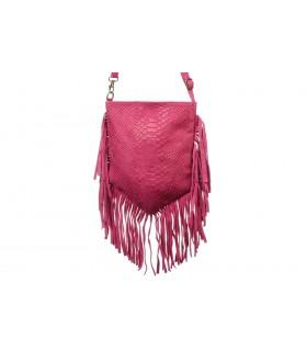 Różowa damska włoska skórzana torebka croco z frędzlami listonoszka C77