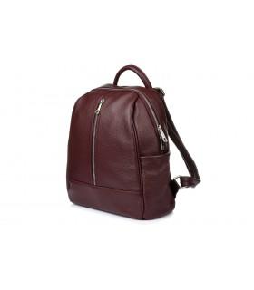 Bordowy Włoski Plecak Skórzany A4 damski pojemny solidny C78