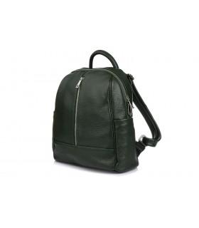 Ciemno- zielony Włoski Plecak Skórzany A4 damski pojemny solidny C78