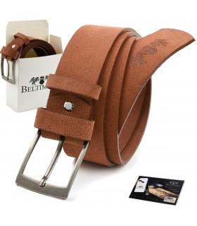BELTIMORE męski pasek skórzany pudełko zamszowy camel A78