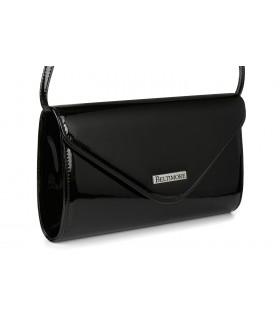 Czarna lakierowana damska torebka wieczorowa kopertówka BELTIMORE M78