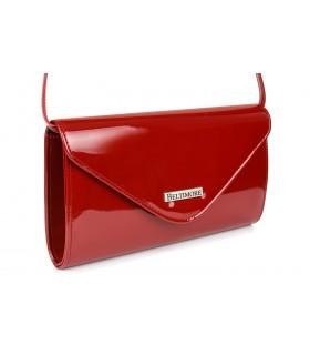Czerwona lakierowana damska torebka wieczorowa kopertówka BELTIMORE M78