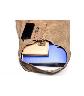 zamszowa torebka skórzana na ramię z saszetką taupe N88