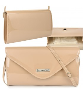 Beżowa lakierowana damska torebka wieczorowa kopertówka BELTIMORE M78
