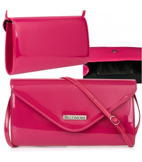 Różowa lakierowana damska torebka wieczorowa kopertówka BELTIMORE M78