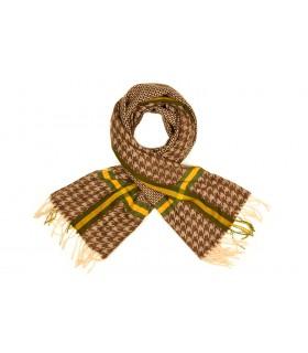 Brązowy Bawełniany duży szalik damski ciepły szal w kratę D08