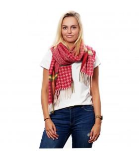 Czerwony Bawełniany duży szalik damski ciepły szal w kratę D08