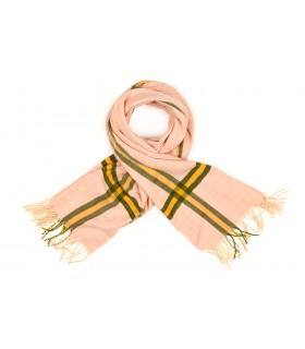 Różowy Bawełniany duży szalik damski ciepły szal w kratę D08