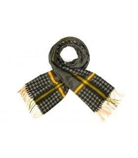 Czarny Bawełniany duży szalik damski ciepły szal w kratę D08