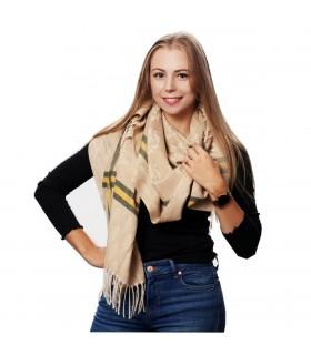 Beżowy Bawełniany duży szalik damski ciepły szal elegancki D09