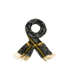 Czarny Bawełniany duży szalik damski ciepły szal elegancki D09