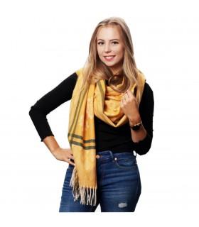 Żółty Bawełniany duży szalik damski ciepły szal elegancki D09