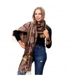 Brązowy Bawełniany duży szalik damski ciepły szal elegancki D09