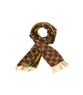 Brązowy Bawełniany duży szalik damski ciepły szal elegancki D12