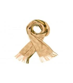 Beżowy Bawełniany duży szalik damski ciepły szal elegancki D12