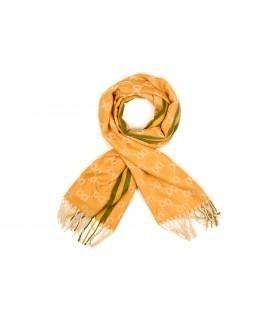 Żółty Bawełniany duży szalik damski ciepły szal elegancki D12