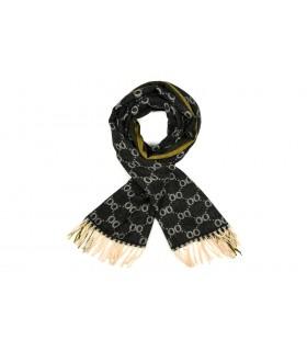 Czarny Bawełniany duży szalik damski ciepły szal elegancki D12