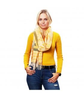 Żółty Bawełniany duży szalik damski ciepły szal krata D13