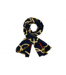 Granatowy szalik damski duży cieplutki modny wzór szal D14