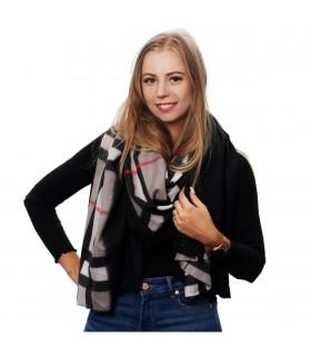 Szary szalik damski duży cieplutki modny wzór w kratę szal D15