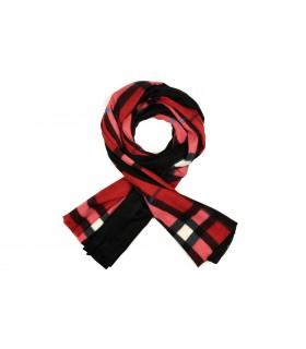Czerwony szalik damski duży cieplutki modny wzór w kratę szal D15