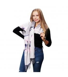 Jasno- szary Szalik damski duży cieplutki modny wzór kwiatowy szal D16