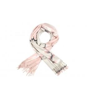 Różowy Szalik damski duży cieplutki modny wzór kwiatowy szal D16