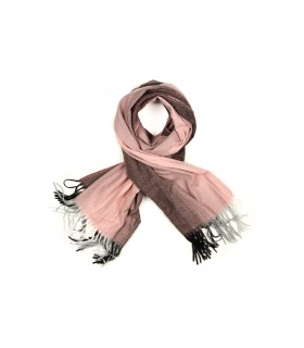 Różowy Szalik damski duży cieplutki modny wzór ombre szal D17