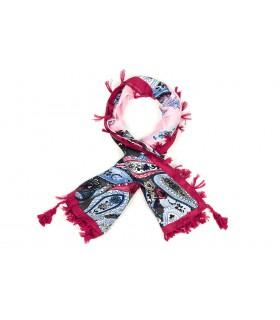 Różowa Duża ludowa chusta z frędzlami MODNA Folk wzory Apaszka B36